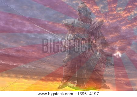 Samurai statue against magnificent rising sun background.