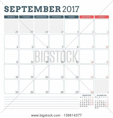 Calendar Planner Template For September 2017. Week Starts Monday. 3 Months On Page. Place For Notes.