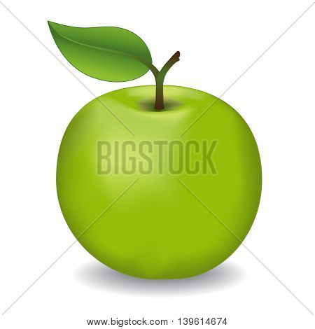 Apple, Granny Smith, fresh, natural, orchard garden fruit isolated on white background.