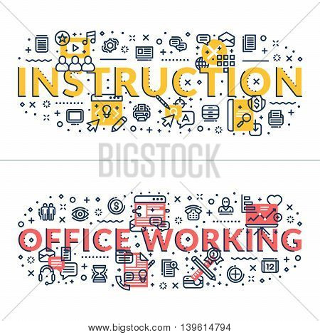Instruction and Office Working headings titles. Horizontal colored flat vector illustration.