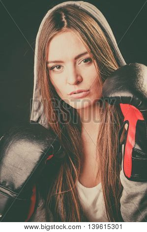 Exercising prepare for fight. Sportsmanship and strong body. Young woman wear sportswear boxing with opponent. Sport and fitness healthy lifestyle.
