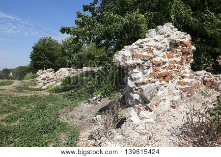 photographed close-up of an ancient fortress of the 13th century, located in Grodno, Belarus
