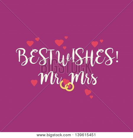 Cute magenta wedding Best Wishes Mr Mrs congratulations card with pink hearts and golden rings.