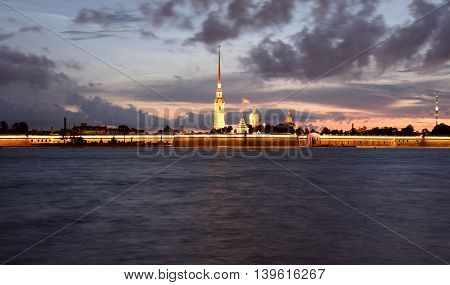 River Neva and Peter and Paul Fortress before sunrise in St.Petersburg Russia.