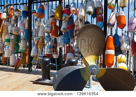 These different brightly colored floats are used to mark crab pots and help float off shore fishing nets