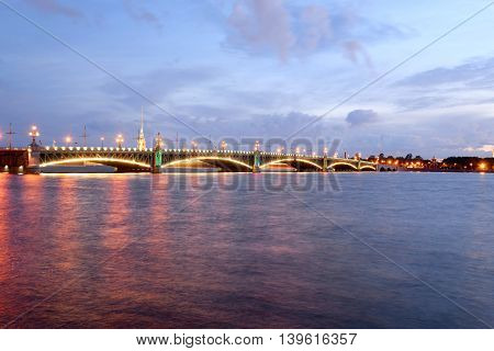 Trinity bridge and Neva River at night in St.Petersburg Russia.