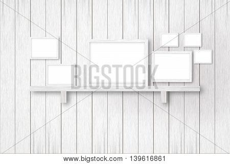 white wooden background with white frames interior decoration3D illustration