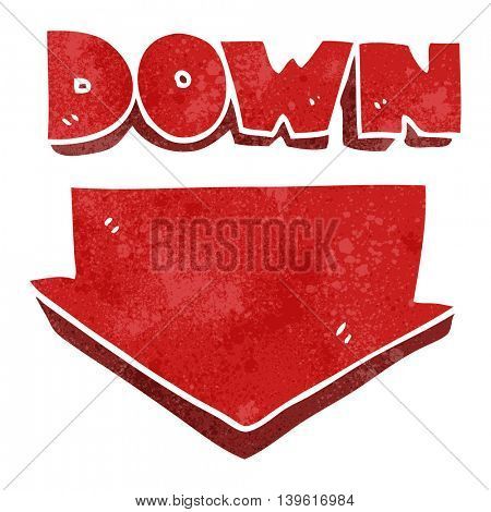 freehand retro cartoon down arrow symbol
