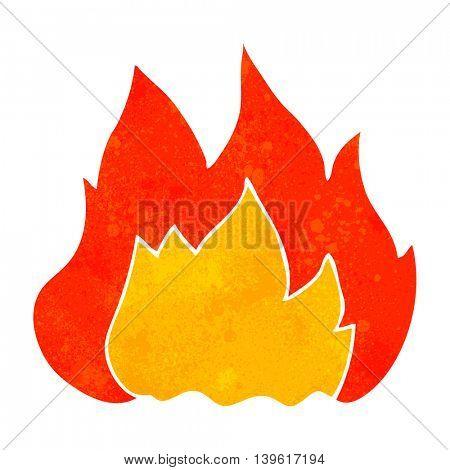 freehand retro cartoon fire
