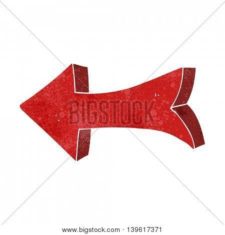 freehand retro cartoon pointing arrow
