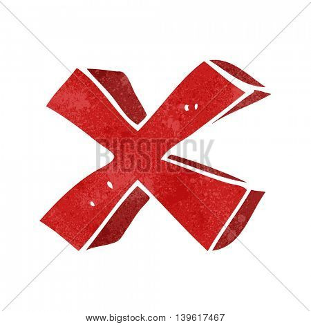 freehand retro cartoon negative x symbol