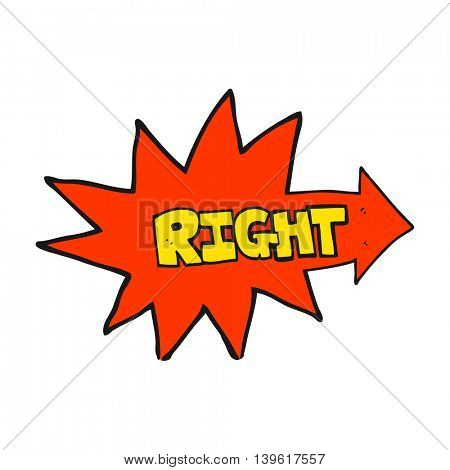 freehand drawn cartoon right symbol pointing