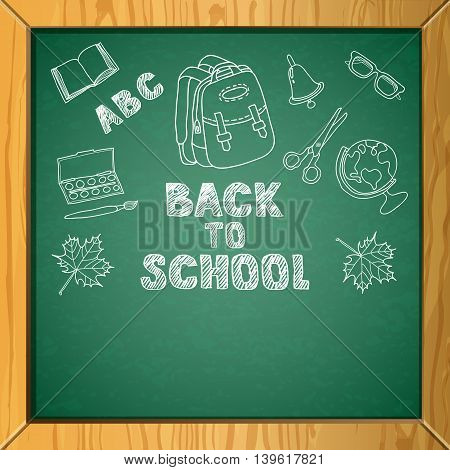 Vector School Chalkboard Background With Hand Drawn Childish Style Illustrations.