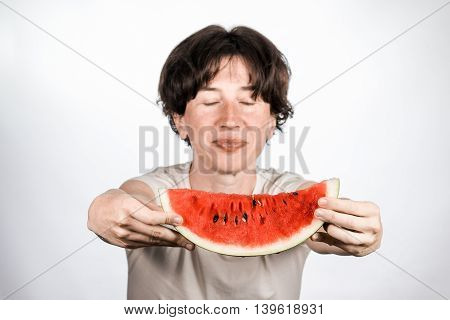 Female Holding A Melon