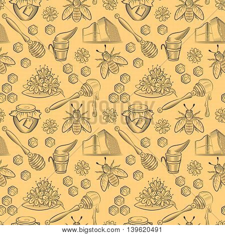 Seamless pattern with pots of honey bees and flowers. Honey pattern in vintage style. Can be used in package design web design. Vector illustration.