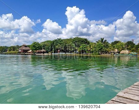 View from pier to the beach of Laguna Bacalar Mexico
