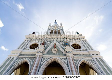 nativity of Our Lady Cathedral Bang Nok KhwaekBig white cathedral The center of the Christian faith in Thailand.