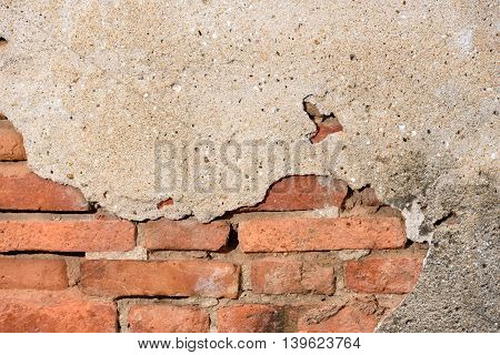 The vintage grunge brick and concrete wall background.