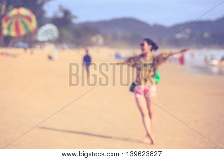 Blur Image. People On The Beach. Retro And Vintage Style