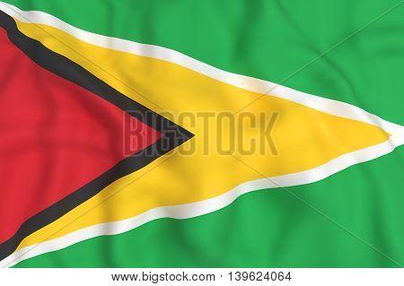 Republic Of Guyana Flag Waving