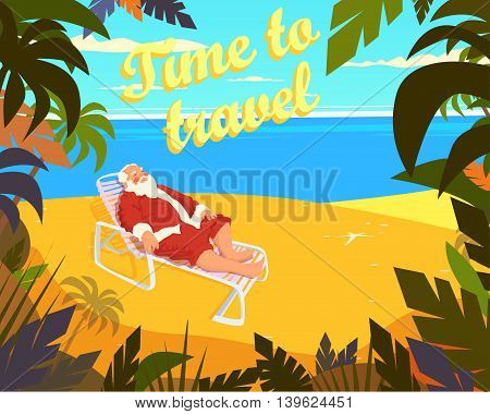 Tropical beach, sun, summer, santa claus, holiday, time to travel Vector illustration EPS 10