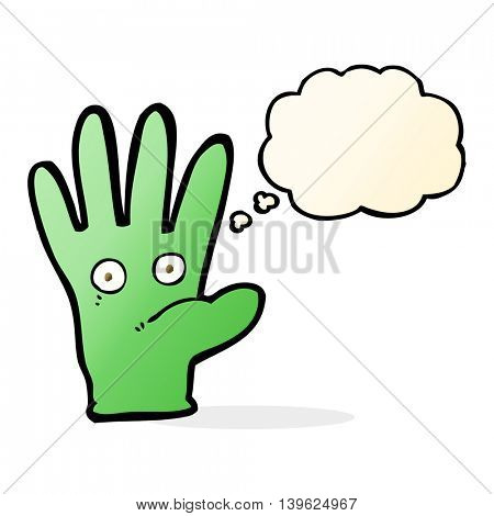 cartoon hand with eyes with thought bubble