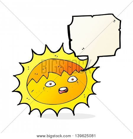 cartoon sun with speech bubble