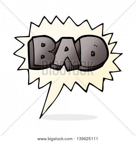 cartoon bad sign with speech bubble