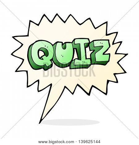 cartoon quiz sign with speech bubble