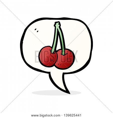 cartoon cherries with speech bubble