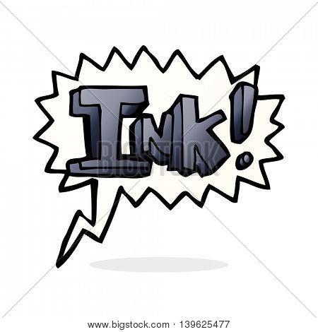 ink cartoon  with speech bubble