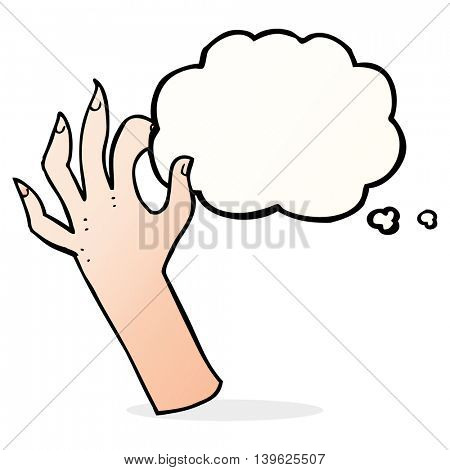cartoon hand symbol with thought bubble