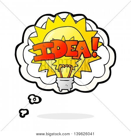 freehand drawn thought bubble cartoon idea light bulb symbol