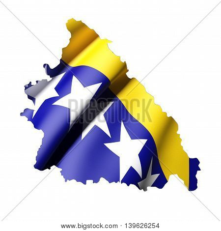 Silhouette Of Bosnia And Herzegovina  Map With Flag