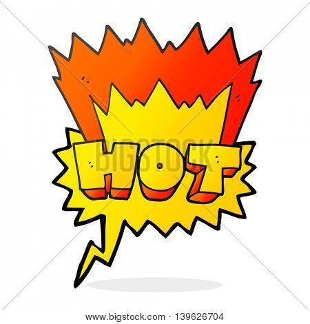 freehand drawn speech bubble cartoon word hot