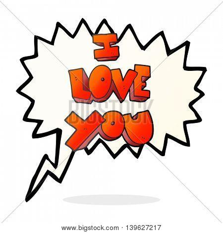 I love you freehand drawn speech bubble cartoon symbol