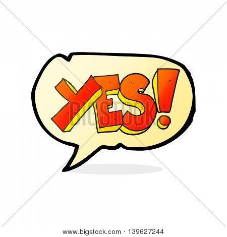 freehand drawn speech bubble cartoon yes symbol