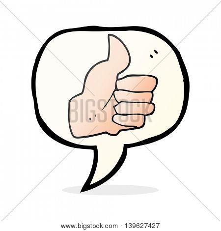 freehand drawn speech bubble cartoon thumbs up symbol