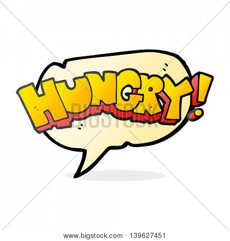 freehand drawn speech bubble cartoon hungry text