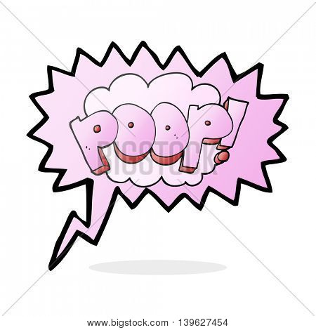 freehand drawn speech bubble cartoon poop! text