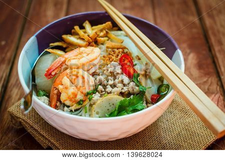 Bowl Of Noodles With Shrimp And Pork.