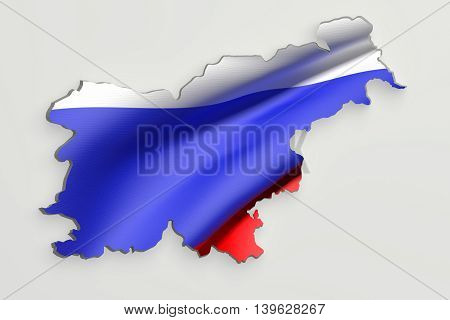 Silhouette Of Slovenia Map With Flag