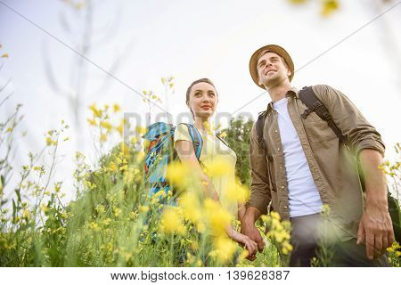 Low angle of loving couple having romantic journey. They are standing on flower meadow and smiling. Man and woman are holding hands