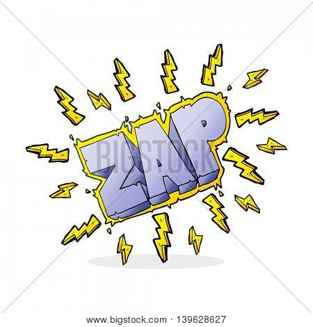 freehand drawn cartoon zap symbol