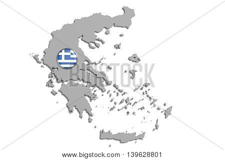 Silhouette Of Greece Map With Flag On Button