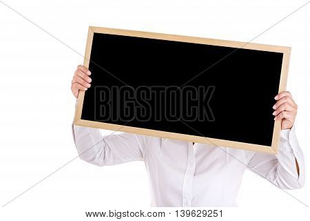Portrait Of Asian Woman Show The Black Board Isolated Isolated On White
