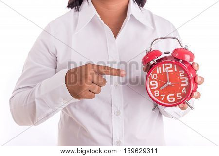 Woman Holding Red Alarm Clock Isolated On White