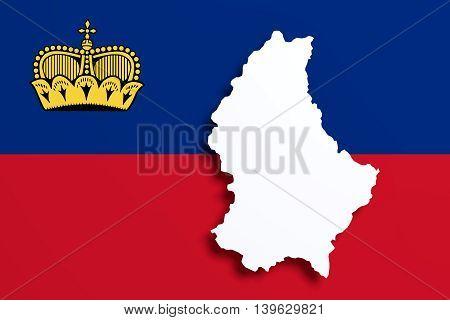 Silhouette Of Liechtenstein Map With Flag