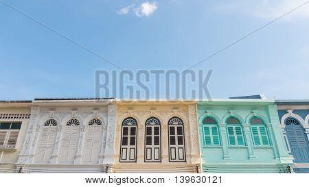 vintage windows Sino-Portuguese style architecture at Phuket Thailand