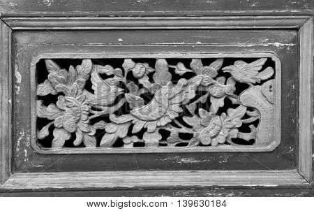 black and white Carved wood of ancient China.